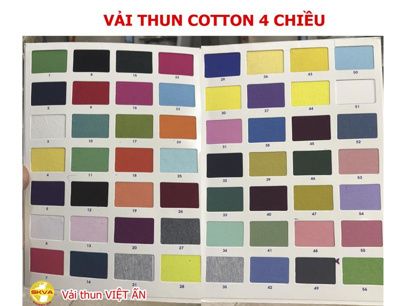 Bảng màu vải cotton 4 chiều